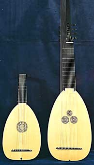 Front view, Left - 7c. 1592 Venere;  Right - Front view, Sellas Theorbo - Grant Tomlinson Lutemaker