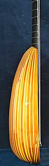 Side view of Sellas Theorbo - Grant Tomlinson Lutemaker